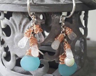 Sterling Silver handmade pierced earrings with Chalcedon and moonstone/gift for you/fancy/unique/multi-coloured