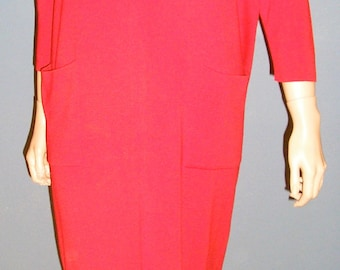 Vintage, late 50s, early 60s, red, knit, wool and silk, sheath, dress, by Kimberly, size medium, size large