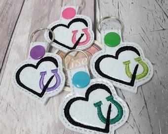 Digital File: 2 Horse shoe Heart Key Fobs 4x4 ITH