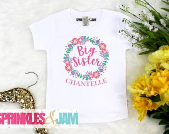 Big Sister Shirt, Promoted to Big Sister, Floral Big Sister Shirt, Floral Little Sister Shirt or Bodysuit, Personalized Sibling Shirts
