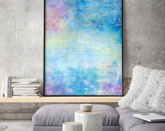 Abstract Acrylic Painting, Print Giclee of Original Wall Art, Pink, Blue Wall Decor by Eveline Patrzalek Reproduction Art