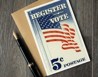 Voter registration card, register to vote poster, register and vote posters, US vote posters, USA voter registration posters, voting cards