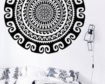 Full Mandala H12 - Home or Office Wall Mandala - BLACK Vinyl Decal