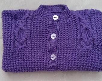 Hand knitted girls cardigan