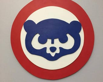 Chicago Cubs Cubbie Bear Face 3D Wooden Wall Decor Sign