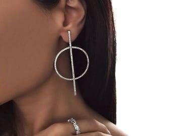 EBONY EARRING - asymmetrical earrings, drop earrings, evening earrings, white gold earrings, statement earrings, european earrings