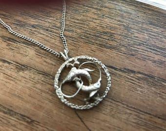 pisces zodiac pendant in sterling silver