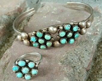 Vintage Old Pawn Sterling Silver Turquoise Bracelet Ring