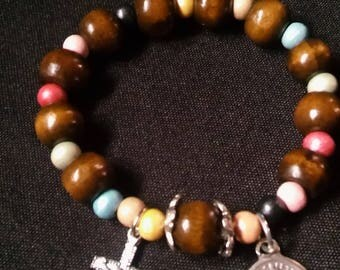 Rosary Stretch Bracelet - Dark Wood and Rainbow Pastels, Our Lady of La Salette
