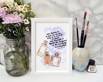 Now Thanks Be To God - Perfume Bottles - A6 Framed Print - Scripture Art  - 2 Corinthians 2:14 - Christian Gifts