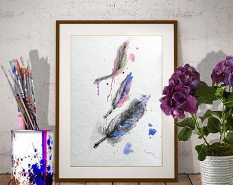 Original feather watercolor in blue-pink-black Three feathers painting Original modern watercolor art Contemporary painting Modern painting