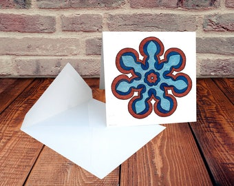 Original Art Notecard or Blank Card in Blue and Copper -