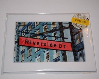 Pink Riverside Matted Photography - Riverside Drive, New York City, NYC, street sign, urban, city decor, wall decor, home, pink, blue,