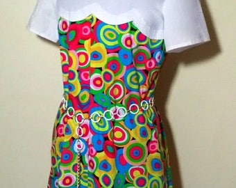 1960's Style Brightly Coloured Psychedelic Mod Retro Dress with Chain Belt