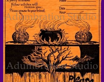 halloween invitation old fashioned halloween party invite in 2 colors witch black - Old Fashion Halloween