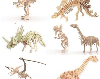 3D Puzzle 3mm - 6 Pack ana 1 Gift - Dino - DXF