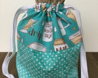 Project Bag, Knitting Bag, Knitting Project Bag, Drawstring Bag, Sock Knitting, Coffee Talk