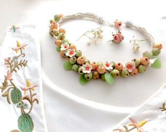 """set of jewelry made of polymer clay """"Apples"""""""