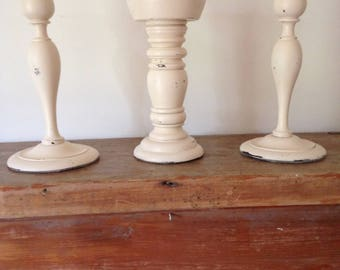 Distressed ivory candlesticks -mantle decorations- rustic candlesticks