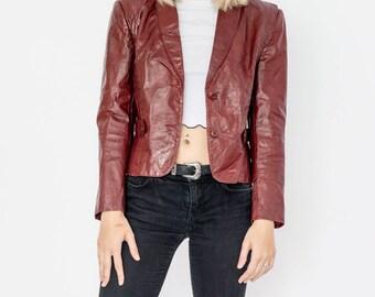 90s Vintage Cropped Cherry Leather Blazer