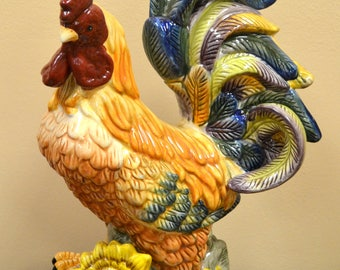 Beautiful Ceramic Rooster Statue