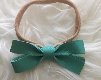 Baby Headband, Turquoise Bow Headband, Baby Leather Headband, Bow Headband, Genuine Leather Headband, Leather Headband