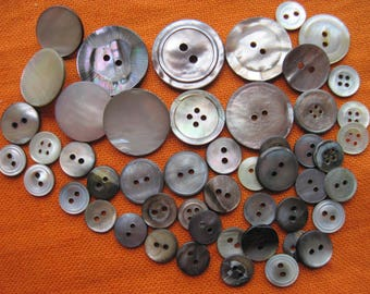 "50 VINTAGE mother of Pearl buttons, 10 mm-25 mm, 0.39 - 0.98 "", grey, silver, grey mix"