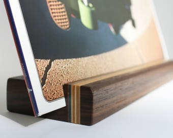 Vinyl Record Stand - Walnut and Recycled Skateboard - Now Playing LP Display - Hand-Made in USA