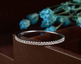 Diamond Wedding Band Stacking Half Eternity Bridal Set Simple White Gold Dainty Micro Pave Thin Unique Anniversary Gift for Her
