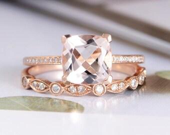 Morganite Engagement Ring Rose Gold Bridal Set Diamond Wedding Women Art Deco Half Eternity Cushion Cut Antique Birthstone Ring Set