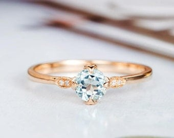 Aquamarine Engagement Ring Rose Gold Round Cut Art Deco Diamond Wedding Women Marquise Bridal Anniversary Gift for Her