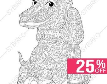 Adult Coloring Page Dachshund Dog Zentangle Doodle Pages For Adults Digital Illustration