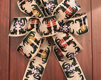 Halloween Burlap Witches Feet Bow