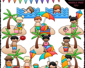 Beach Fun Kids Clip Art and B&W Set