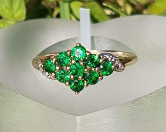 Chrome Diopside Cluster Ring in 9ct Gold
