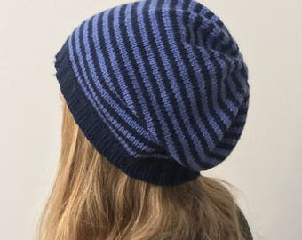 """Striped beanie Hat """"waterfront"""" in shades of acrylic-vegan"""