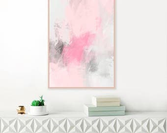 Pink and Grey Abstract Art, Pale Pink and Grey Painting, Large Abstract Painting, Modern Printable Wall Art, Original Instant Download Art