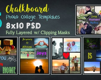 8x10 Chalkboard Photo Collage Template Pack, 15 PSD Templates, Photoshop Collage Templates, Scrapbook, Storyboard Templates, Chalkboard