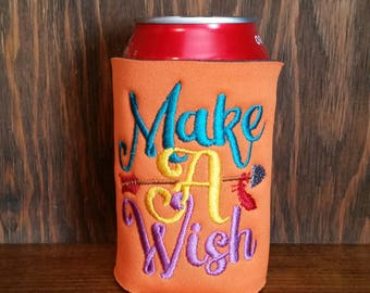 Make A Wish Can Cooler, Embroidered Can Cooler, Birthday Cozie, Embroidery Can Cooler, Cozies, Make A Wish Cozies, Happy Birthday Cozie
