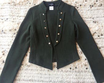Vintage CHANEL CC Logo Buttons Green Military Army Jacket Coat Bomber eu 38  us S M