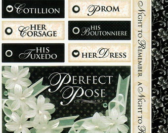 Prom Titles Tags Borders Bo Bunny  Cardstock Scrapbook Stickers Embellishments Card Making