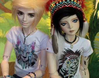 "BJD SD clothes t-shirt ""Animals shamans"" Collection"
