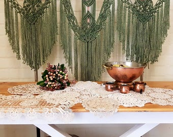 Green Large Macrame Wall Hanging / Wallhanging / Wall art / Hand dyed