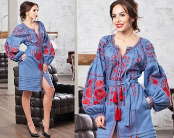 SIZE L Bohemian Linen Vyshyvanka Dress With Pockets Boho Style Ukraine Embroidered Dress Tunic Ethnic Embroidery Mexican Dress Women