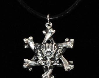 Demon Death Skull Crossbones Biker Goth Sterling Silver Necklace Pendant Leather Cord