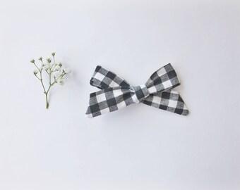 Black and White Gingham Schoolgirl Bow