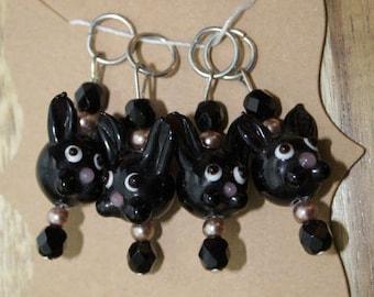 Black Bunny Stitch Markers