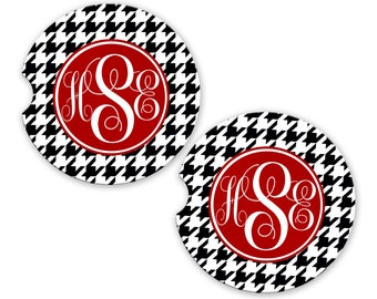 Personalized Monogrammed Car Coasters Black Houndstooth , Cup Holder Coaster, Monogram Gift, Gift for Her Sandstone Coaster