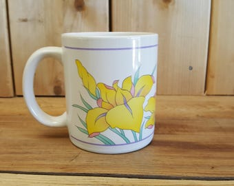 Daffodil Flower Vintage 90s Mug Coffee cup Manoir Collection Hand Crafted Korea Office Gift Novelty Work Cup Hot Beverage Spring April May