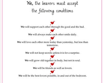 PERSONALIZED A4 LOVE CONTRACT - Perfect for Valentines Wedding Anniversary Gift